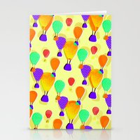 hot air balloons Stationery Cards featuring Hot Air Balloons (Yellow) by Ingrid Castile