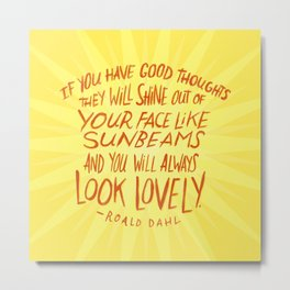 Roald Dahl on Positive Thinking Metal Print