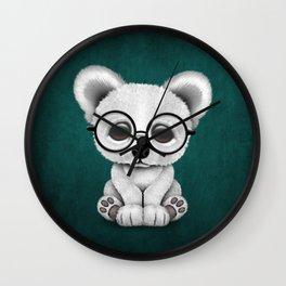 Cute Polar Bear Cub with Eye Glasses on Teal Blue Wall Clock