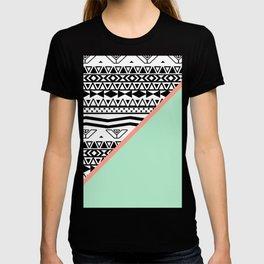 Block | Black White Aztec Pattern Mint Green Color Block T-shirt