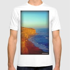 Sunsets on the limestone Cliffs White Mens Fitted Tee SMALL