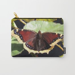 Mourning Cloak Butterfly at Rest on a Rose Leaf Carry-All Pouch