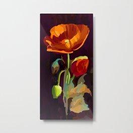 Poppy Flower and Bud Vector Floral Art Metal Print
