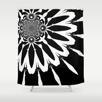 blankets Shower Curtains featuring Black & White Modern Flower by 2sweet4words Designs