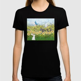 Eastern bluebirds, daffodils, and white rabbit T-shirt