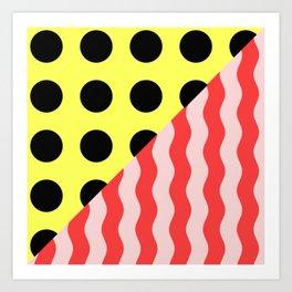 Polka Waves - black and yellow polka dots and red and pink waves Art Print