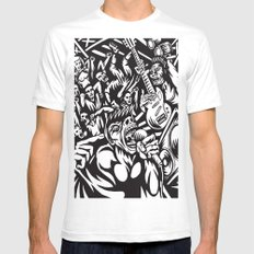 Illustration of Rock Concert White SMALL Mens Fitted Tee