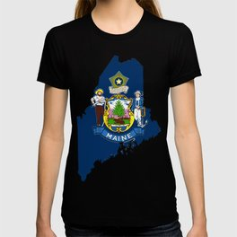 Maine Map with Flag of Maine T-shirt