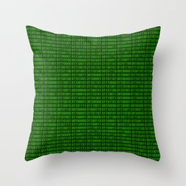 Binary numbers pattern in green Throw Pillow