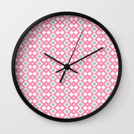 Geometric Pattern - Diamonds and Dots - Pink & Green Wall Clock