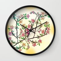 cherry blossoms Wall Clocks featuring Cherry Blossoms by famenxt