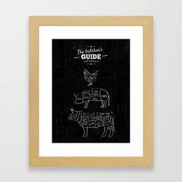 Butcher's Guide - Beef, pork, chicken - cut's chart - Butcher Shop Butcher cuts Meat Cuts Framed Art Print