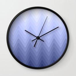 Zigzag. White, blue, dark blue Ombre. Wall Clock