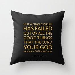 Joshua 23:14 Bible Verse - Black Gold Throw Pillow