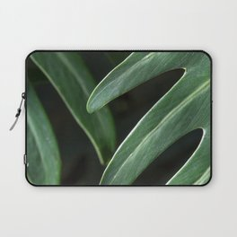 Tropical Leaves on Black Laptop Sleeve