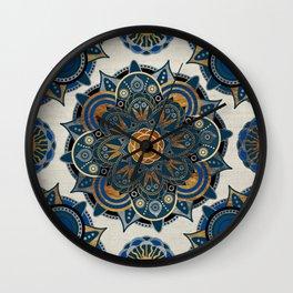 Mandala Blue and Gold Wall Clock
