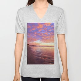 Life's a Beach, A Pink Beach by Reay of Light Photography Unisex V-Neck