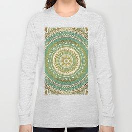 Teal and Gold Mandala Long Sleeve T-shirt