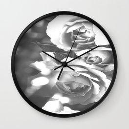 Roses In Black And White #decor #society6 #buyart #homedecor Wall Clock