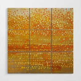 Landscape Dots - Orange Wood Wall Art