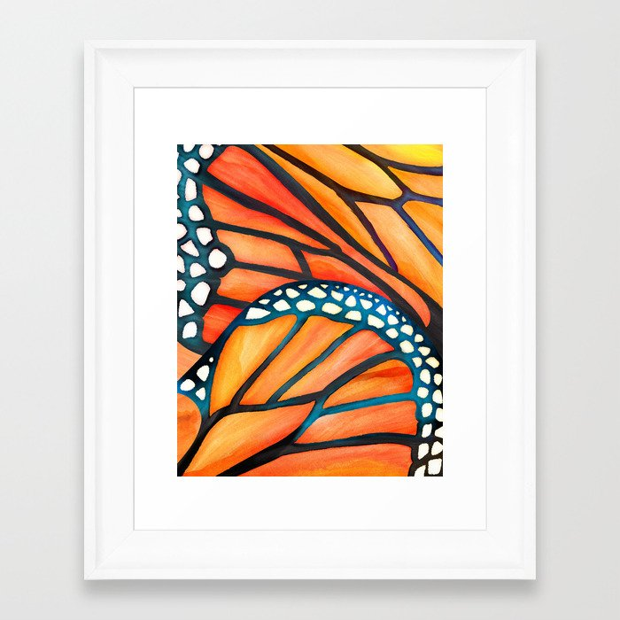Monarch Butterfly Wings Watercolor Abstract Framed Art Print