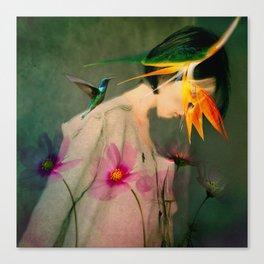 Woman between flowers / La mujer entre las flores Canvas Print