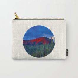 Mid Century Modern Round Circle Photo Red Mountain Sunset With Field of Green Cactus Carry-All Pouch