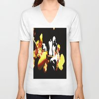 orchid V-neck T-shirts featuring Orchid by Angelica Gonzalez Donaire