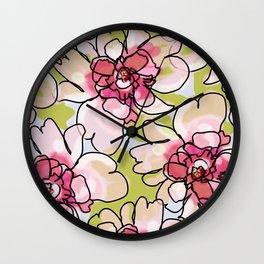 Pink Blush Peonies Wall Clock