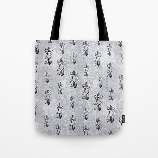 Abstract black white shine neon flowers on silver Tote Bag