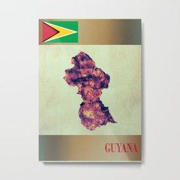 Guyana Map with Flag Metal Print