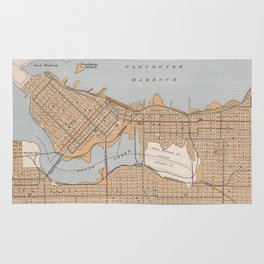Vintage Map of Vancouver Canada (1915) Rug