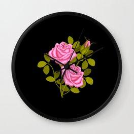Painted Pink Roses Wall Clock
