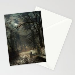 John Atkinson Grimshaw - A moonlit Lane - Victorian Retro Vintage Painting Stationery Cards