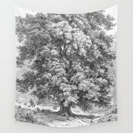 Linden Tree Print from 1800's Encyclopedia Wall Tapestry