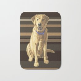 Happy Yellow Labrador Retriever Retro Bath Mat