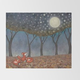sleepy foxes Throw Blanket