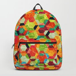 Colorful Half Hexagons Pattern #04 Backpack