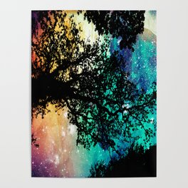 Black Trees Colorful Space Poster