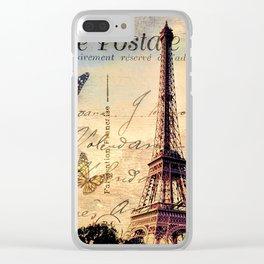 Vintage Paris-Carte Postale Clear iPhone Case