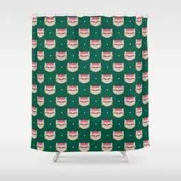 Frida the Cat Mexican Painter Repeat Shower Curtain