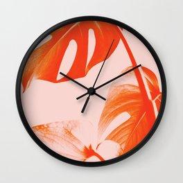 Coral orange monstera leaves, Modern trendy color art print Wall Clock