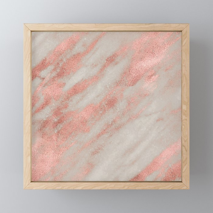 Marble Rose Gold White Marble Foil Shimmer Framed Mini Art Print