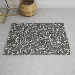 Black and white waves  Rug