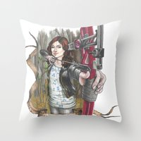 allison argent Throw Pillows featuring Allison Argent - We protect those who cannot protect themselves by MonsterFromTheLAke