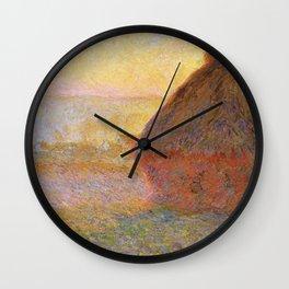 Haystacks, Sunset (1891) by Claude Monet Wall Clock