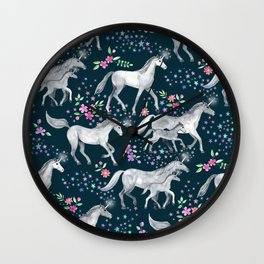 Unicorns and Stars on Dark Teal Wall Clock