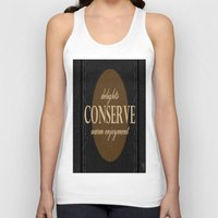 """leather Tank Tops featuring LeAtHer COnSeRvE by """"CVogiatzi."""
