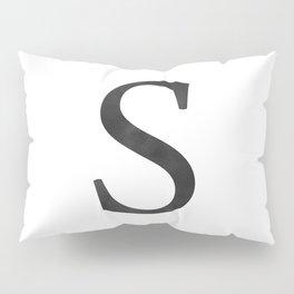 Letter S Initial Monogram Black and White Pillow Sham