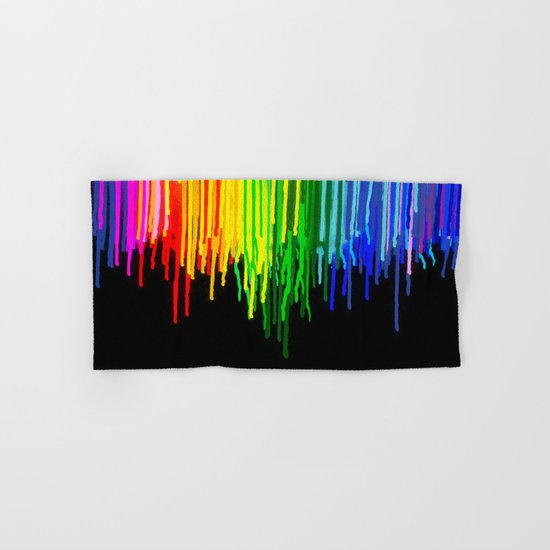 Rainbow Paint Drops on Black Hand & Bath Towel